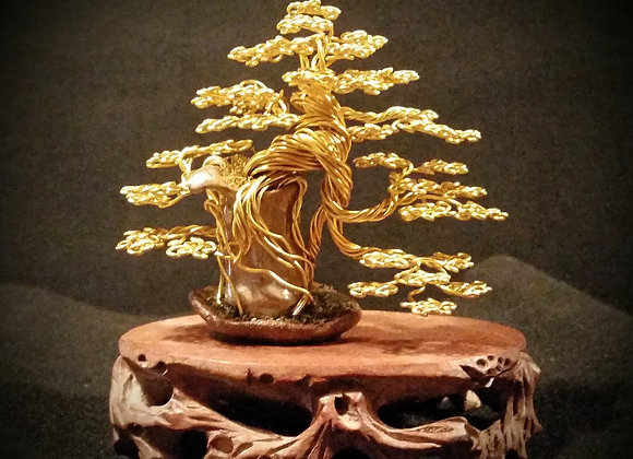 Gold Root-over Pot Wire Tree Sculpture By Rick Skursky