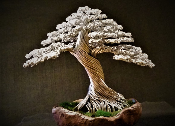 Wire Tree Sculpture #189 In Silver By Rick Skursky