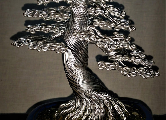 Silver Bonsai Tree Sculpture#197 By Rick Skursky