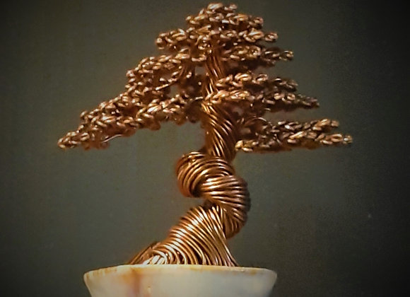 Wire Tree sculpture #211 root over rock By Rick Skursky