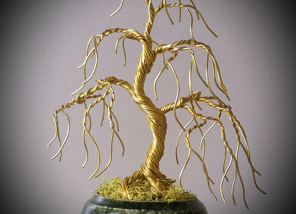 #108 Simple Gold Weeping Wire Tree Sculpture