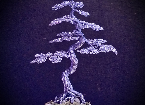 #104 Ice Blue Wire Tree Sculpture