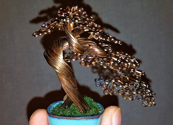 Heat colored copper wire tree sculpture