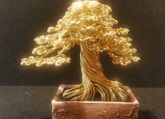 Large Gold Wire Tree Sculpture