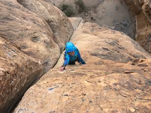 Wadi Rum Corinna in Merlin 6b Trad