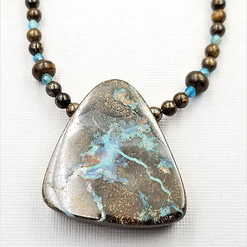Boulder Opal With Bronzite and Apatite
