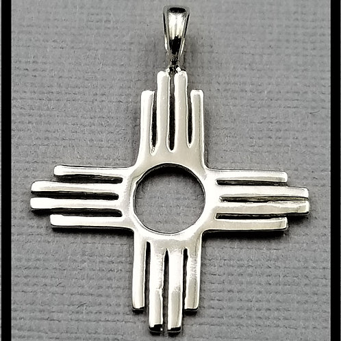 Large Zia Pendant, sterling silver
