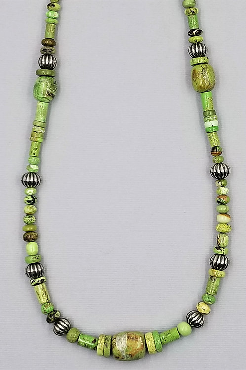 Gaspeite necklace with sterling silver