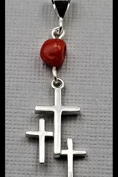Small Cross Pendant w/ red coral bead, sterling silver