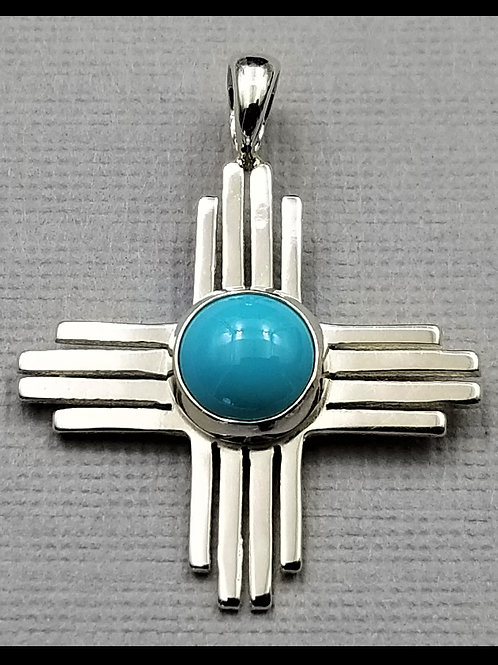 Medium Zia Pendant w/ natural turquoise, sterling silver