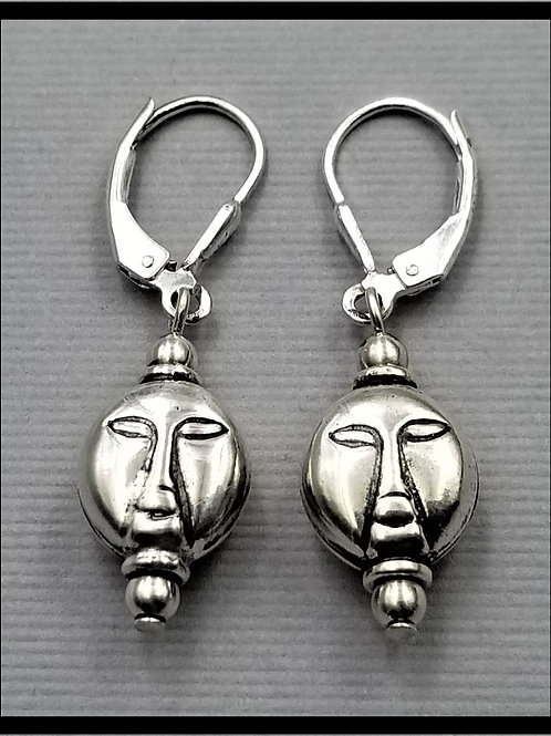 Earrings, whimsical face style (pair), sterling silver