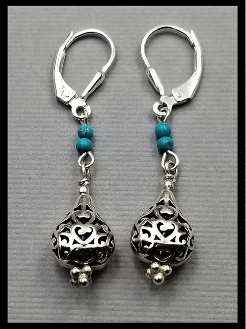Earrings, filigree teardrop style w/ turquoise (pair), sterling silver