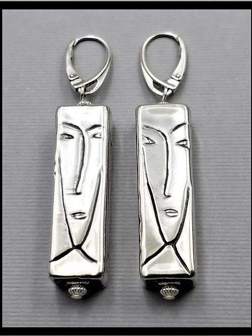 Earrings, large Modigliani (pair), sterling silver