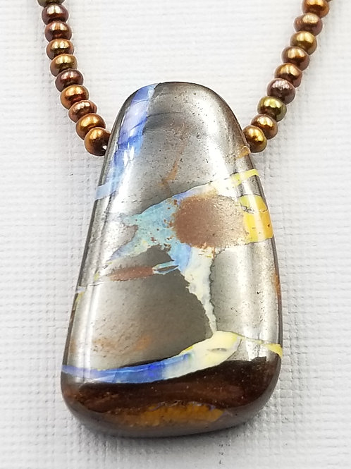 Boulder Opal With Bronze Pearls and Blue Glass