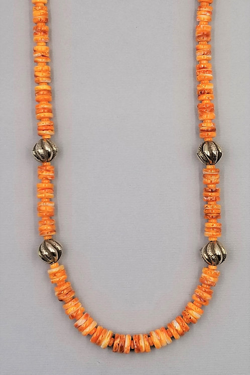 Orange spiny oyster with sterling silver melon beads