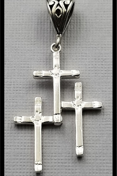 Medium Cross Pendant, fancy hand stamped, sterling silver