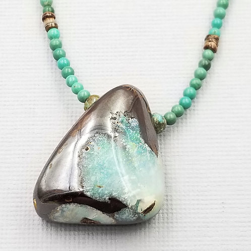 Boulder Opal With Turquoise and Shell