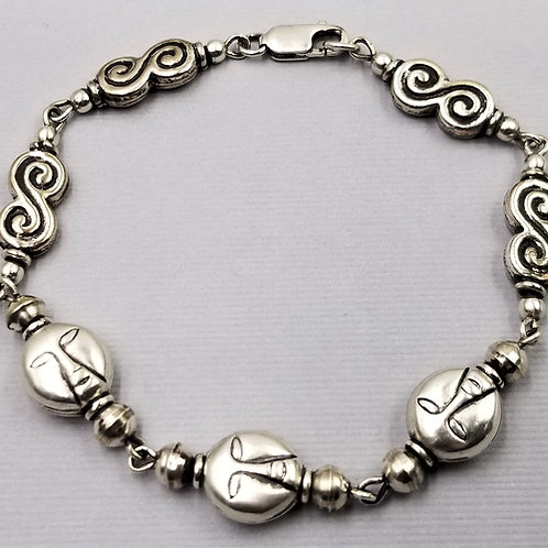 """Sterling silver """"whimsical face"""" bracelet with figure-8 beads"""