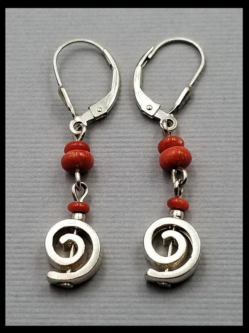 Earrings, pinwheel style w/ red coral (pair), sterling silver
