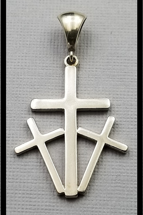 Calvary Style Cross Pendant, sterling silver
