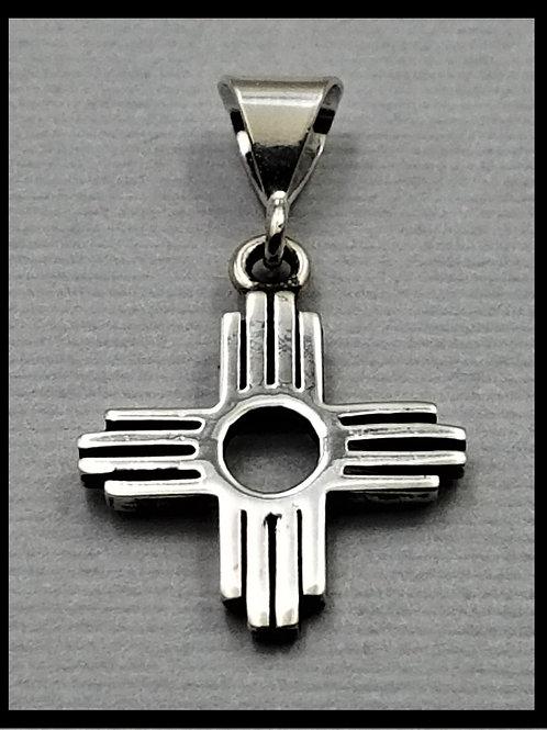 Small Zia Pendant, sterling silver