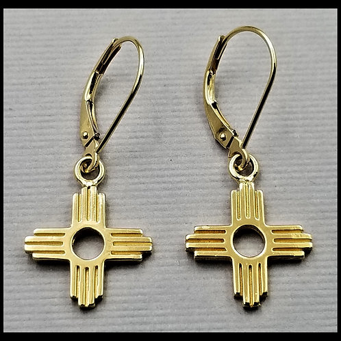 Small Zia Earrings w/ lever back (pair), 14k gold