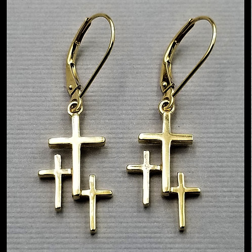 Small Cross Earrings w/ lever back (pair), 14k gold