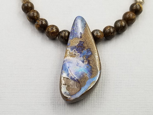 Boulder Opal With Bronzite and Silver