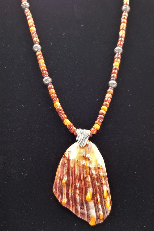 Orange and brown spiny oyster beads and pendant