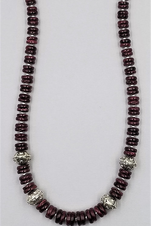 31 inches of deep purple spiny oyster with handmade sterling silver accents