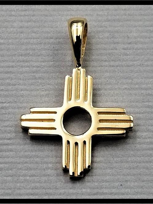 Small Zia Pendant, 14k gold