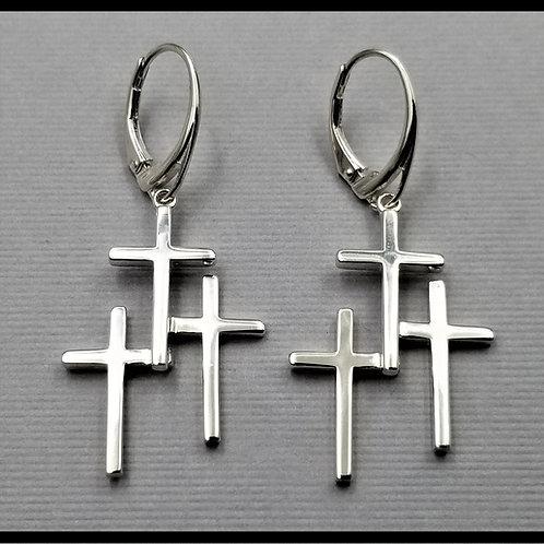 Medium Cross Earrings w/ lever back (pair), sterling silver