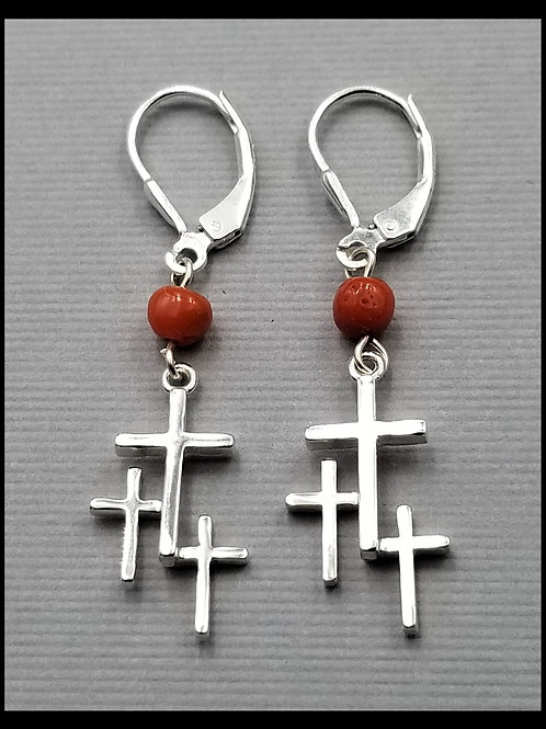 Small Cross Earrings w/ coral bead and lever back (pair), sterling silver