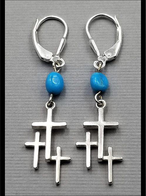 Small Cross Earrings w/ turquoise bead and lever back (pair), sterling silver