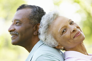 Senior african american couple in park