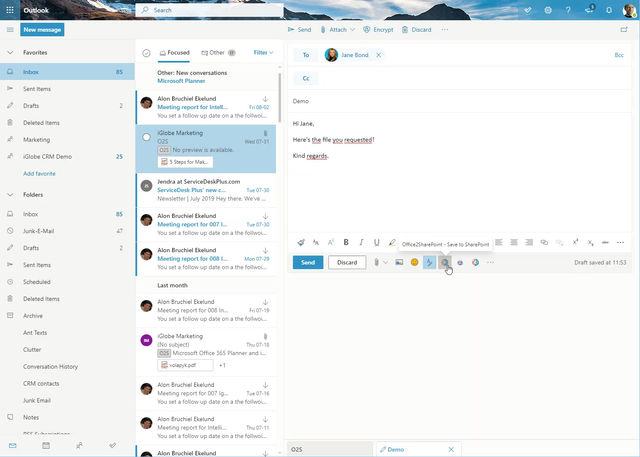 Did you know? Attach a file from SharePoint or Teams to a new mail with Office2SharePoint
