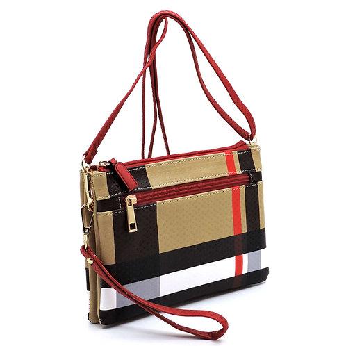 Tartan Plaid Check Multi Compartment Crossbody Clutch Bag