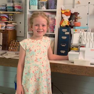 Miss H sews a knit dress