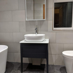 freestanding bath, countertop basin with