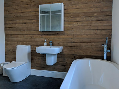 Freestanding bath, wall hung basin on a timber wall cladding