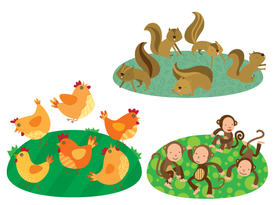 Chickens, squirrels and monkeys