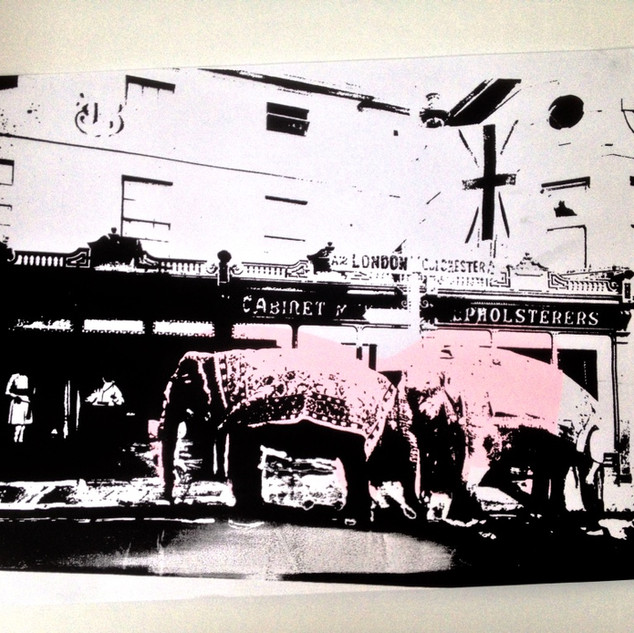 Elephants in Chelmsford - Screen print