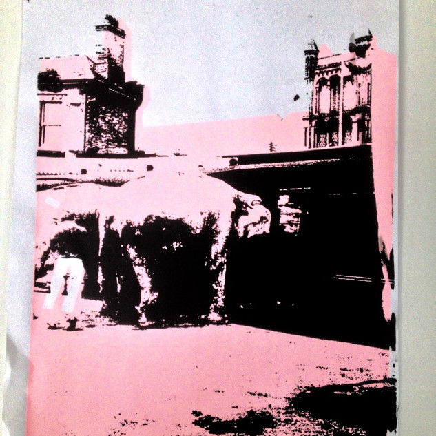 Elephant in Colchester - Screen print .