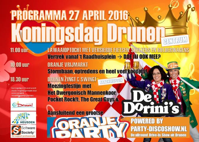 27 april weer groot feest op het Raadhuisplein in Drunen