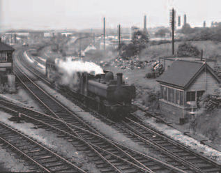 Pannier tank 6418 passes Blowers Green Junction with an auto trailer in June 1962..jpg