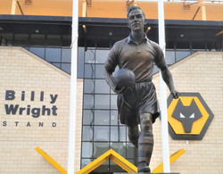Billy Wright statue at Molyneux Stadium.
