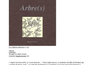 Parution de l'anthologie Arbre(s)s