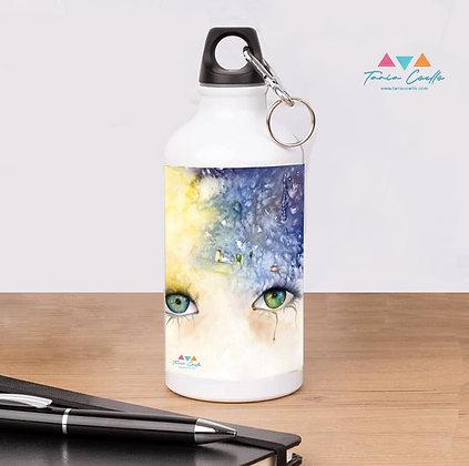 Botella Termo personalizada Blanco y Aluminio