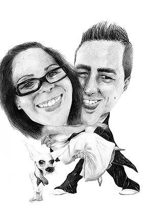 Retrato Caricaturezco Blanco y Negro