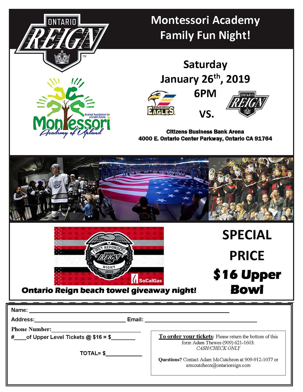 Community Nights are a great time to meet other families in our community. We hope that you can make it out to the Ontario Reign hockey game on Saturday, January 26th at 6pm.